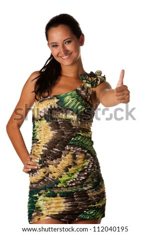 Attractive young woman showing thumb up