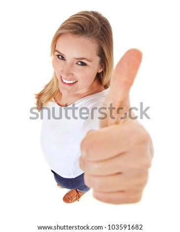Attractive young woman showing thumbs up. High angle view. All on white background.