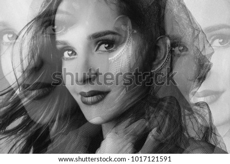 Stock Photo attractive young woman, studio portrait, black and white, double exposure
