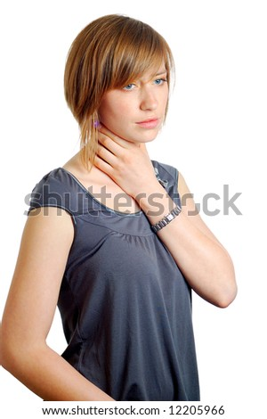 attractive young woman with a sore throat