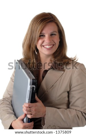 Attractive Young Woman With Notebook Computer