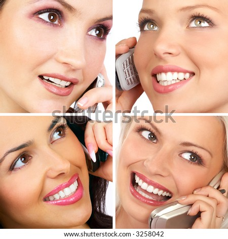 attractive young women calling by cellular phone.
