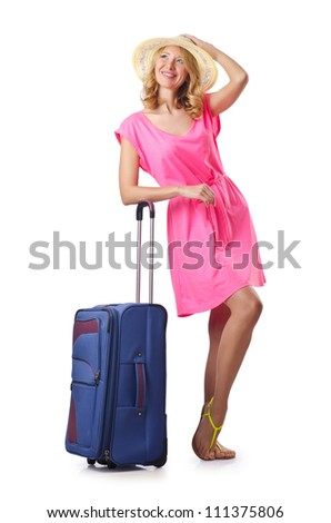 Attrative woman with suitcase on white - stock photo
