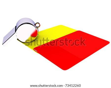 Attributes of a football referee: yellow and red cards, a whistle on a white background