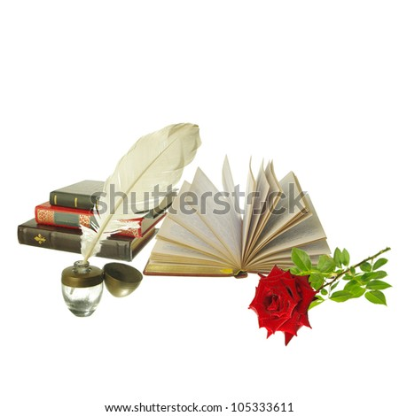 Attributes of Arts. Poetry. Books,  ink-pot and plume, red rose. White background. Your text