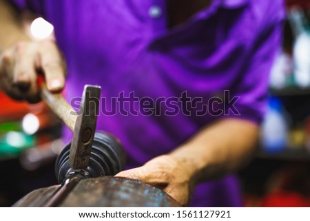 ATV constant-velocity CV joint repair, hammer in by hands #1561127921
