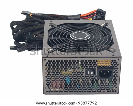 ATX12V/EPS12V switching power supply for computer. Object is isolated on white background without shadows.