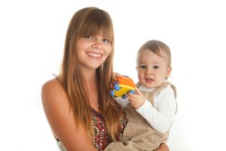 Au Pair, big sister or young mum holding toddler baby boy