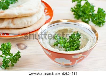 Aubergine and tahina dip, popular in the Mediterranean and Arab regions.