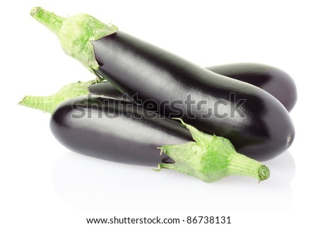 Aubergines isolated on white, clipping path included #86738131