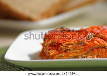 Aubergines parmigiana, typical italian vegan dish.