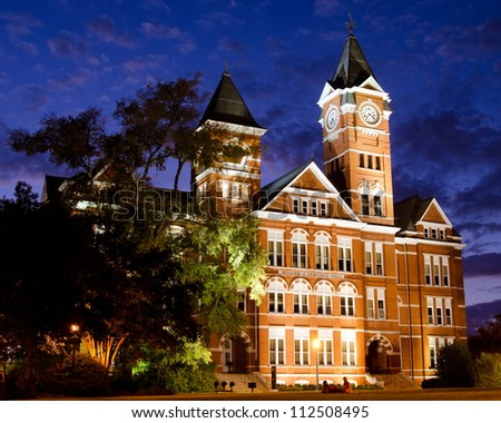 AUBURN, AL- SEPT. 10: Facade of Samford Hall at night on the campus of Auburn University in Auburn, Alabama, on Sept. 10, 2012. The building is an icon for the school with more than 25,000 students.