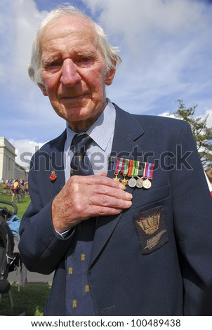 AUCKLAND - APRIL 25: A World War 2 veteran proudly displays his medals following the annual ANZAC Day remembrance service, on April 25, 2007 in Auckland, New Zealand.