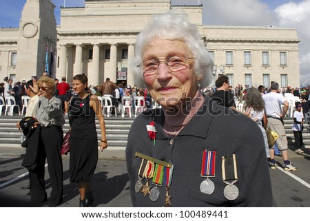 AUCKLAND - APRIL 25: An unidentified woman proudly displays her war medals following the annual ANZAC Day remembrance service, on April 25, 2007 in Auckland, New Zealand.