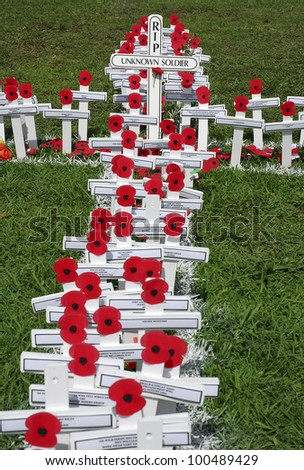 AUCKLAND - APRIL 25: White wooden crosses outside Auckland's War Memorial Museum commemorate the war dead, following an Anzac Day remembrance service on April 25, 2007 in Auckland, New Zealand.