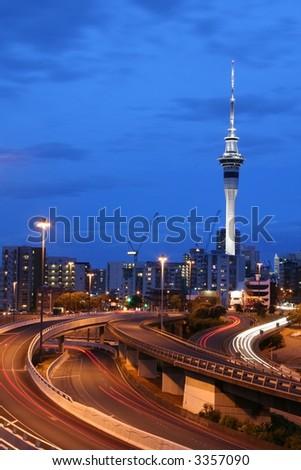 Auckland City At Dusk, New Zealand