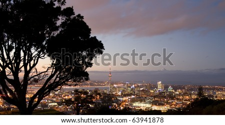 Auckland City skyline at sunset, hilltop view, new zealand