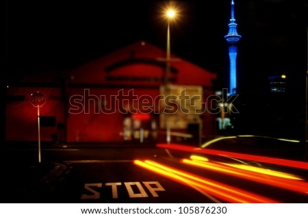 Auckland city skyline by night, New Zealand.