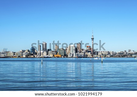 Auckland City View from Bayswater Wharf Auckland New Zealand; The Bigest City in New Zealand #1021994179