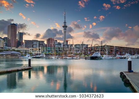 Auckland. Cityscape image of Auckland skyline, New Zealand during sunrise. #1034372623