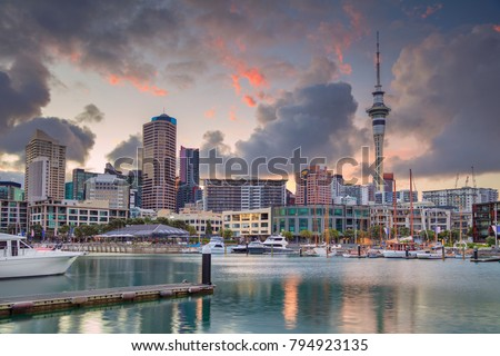 Auckland. Cityscape image of Auckland skyline, New Zealand during sunrise. #794923135