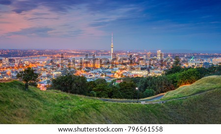 Auckland. Cityscape image of Auckland skyline, New Zealand taken from Mt. Eden at sunset. #796561558