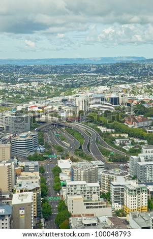 """AUCKLAND  - FEB 21: City panorama from Sky Tower.  Auckland is known as the """"City of Sails"""" because it harbors more yachts per capita than any other city in the world, February 21, 2012 in Auckland."""