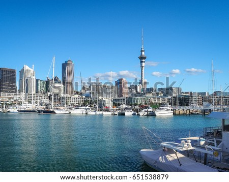Auckland Harbor and Sky tower, the landmark in NZ. #651538879