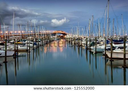 Auckland harbor Bridge from Westhaven Marina. Auckland, New Zealand