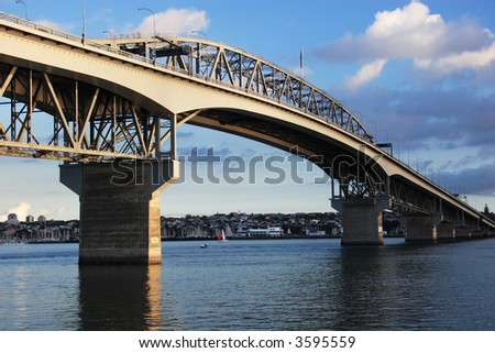 Auckland Harbour Bridge on blue day, New Zealand