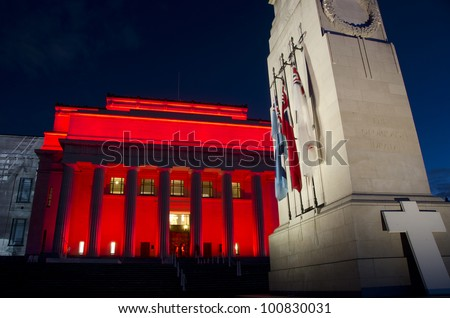 AUCKLAND, NEW ZEALAND - APRIL 24: Auckland's War Memorial Museum is bathed in red light April 24, 2012 on the eve of ANZAC Day remembrance commemorations.  ANZAC Day is in memory of lives lost at war.