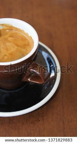 Auckland, New Zealand - April 13th 2019. Closeup flat white coffee #1371829883
