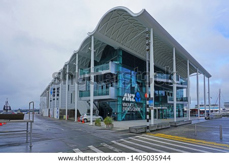 AUCKLAND, NEW ZEALAND -5 AUG 2018- View of the ANZ Viaduct Events Centre on the Waitemata Harbour in the Wynyard Quarter, Auckland, New Zealand. #1405035944