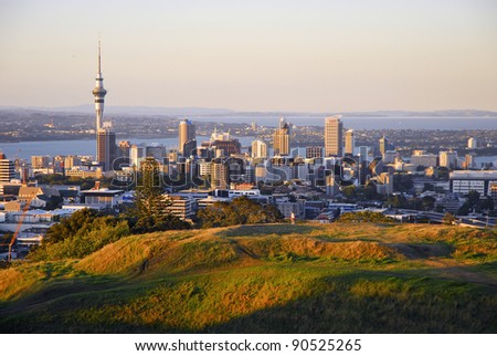 AUCKLAND, NEW ZEALAND - FEB. 20:  Panoramic view of Auckland city viewed from Mt Eden Volcano in Auckland on February 20, 2007.  Auckland (pop. 1.4m) is N. Zealand's most popular visitor destination. - stock photo