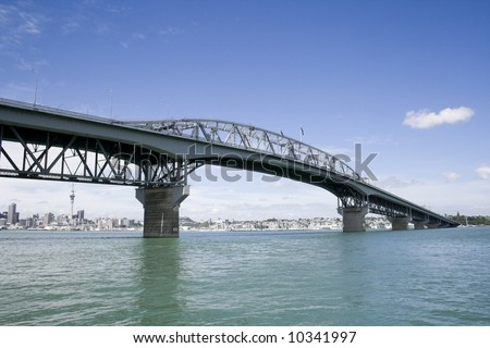 Auckland New Zealand, Harbour Bridge with City in Background