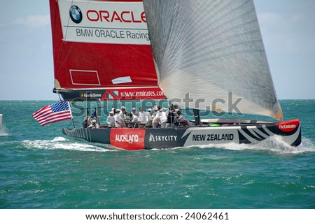 AUCKLAND, NEW ZEALAND - 30 JANUARY - 14 FEBRUARY, 2009: Louis Vuitton Pacific Series sees Americas Cup rival teams match race one another in other teams boats. Shown here is USA Oracle in Team NZs yacht practice.