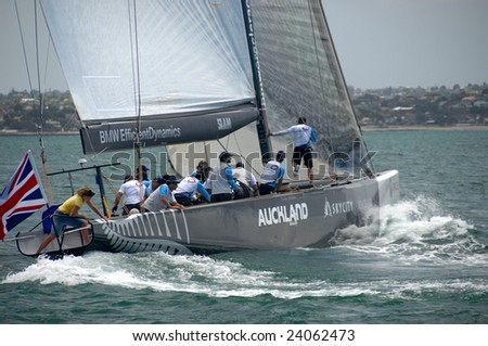 AUCKLAND, NEW ZEALAND - 30 JANUARY - 14 FEBRUARY, 2009: Louis Vuitton Pacific Series sees Americas Cup rival teams match race one another in other teams boats. Shown here is UK's Origin in USA Oracle's yacht practice
