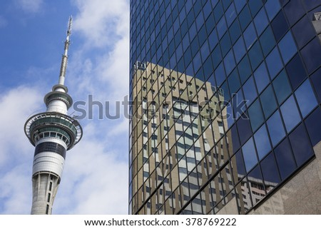 AUCKLAND, NEW ZEALAND - NOV 24 2014: 328 metres (1,076 ft) tall Auckland Sky Tower. It's tallest free-standing structure in the Southern Hemisphere and iconic symbol of Auckland New Zealand #378769222