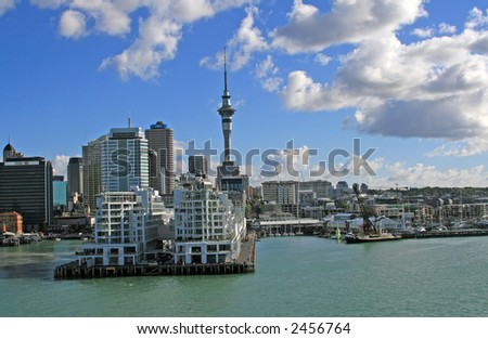 Auckland New Zealand Skyline and Shoreline with Puffy Clouds