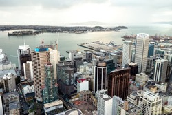 Auckland, New Zealand skyline cityscape view from Skytower