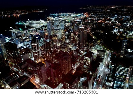 Auckland Night view aerial panorama landscape #713205301