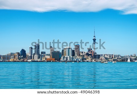 AUCKLAND - NOV 14: Auckland City skyline on November 14, 2008 in Auckland, New Zealand. Auckland is the biggest and most populous city in the country, with a population of over 444,000. - stock photo