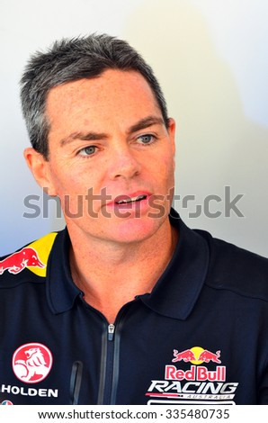 AUCKLAND - NOV 05 2015:V8 Supercars champion driver Craig Lowndes meet Motorsport fans in Auckland, New Zealand.V8 Supercars is a touring car racing category based in Australia.