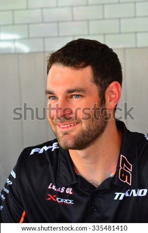 AUCKLAND - NOV 05 2015:V8 Supercars champion driver Shane Van Gisbergen meet Motorsport fans in Auckland, New Zealand.V8 Supercars is a touring car racing category based in Australia.