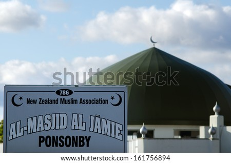 AUCKLAND, NZ - OCT 07:Al Masjid Al Jamie mosque in Ponsonby on Oct 07 2013. Muslim religion in NZ growing, It\'s estimated that there are approximately 17,000 Muslims.