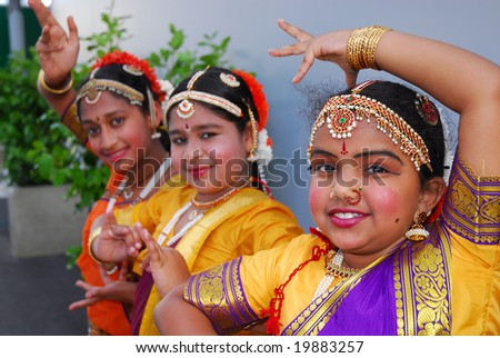 AUCKLAND - OCT 16, 2006.  Young performers pose as they participate in the annual Diwali Festival at Auckland's Britomart Centre on Oct 16, 2006 in Auckland, NZ. Hindus celebrate the event globally.