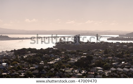 Auckland's Waitemata Harbour at late afternoon, New Zealand