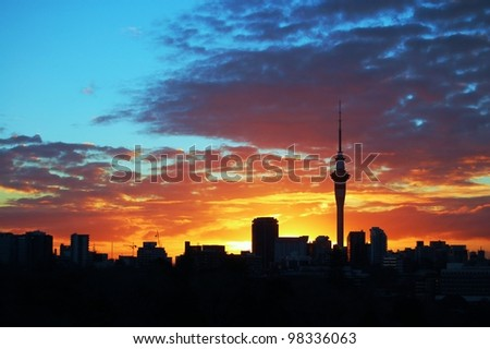 Auckland Sky tower at sunset, taken from Parnell