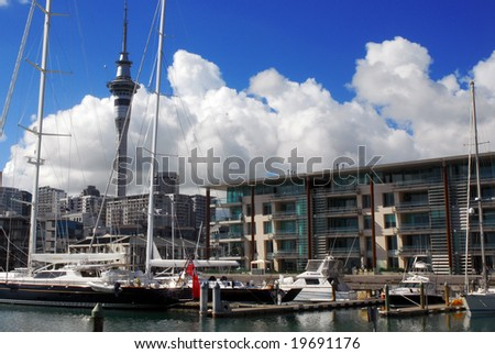 Auckland waterfront photographed from the Viaduct Harbour