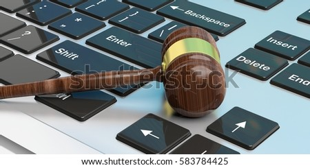 Auction or law gavel on a computer keyboard. 3d illustration
